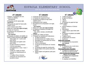 EES Supply List in Spanish